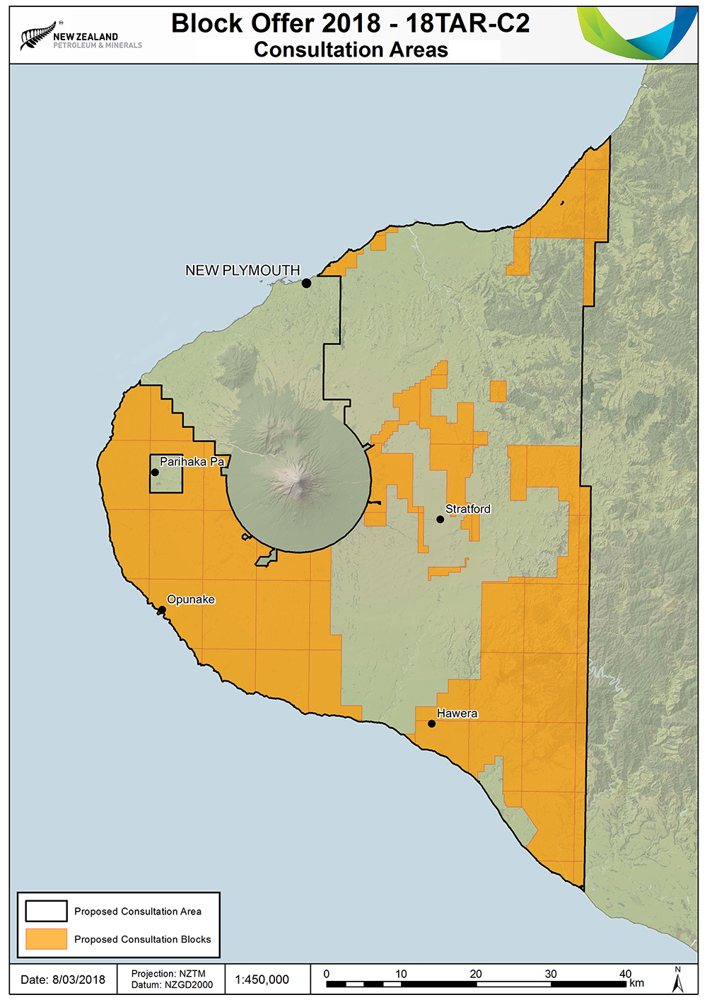 Map of the Taranaki region showing proposed consultation areas for Block Offer 2018.