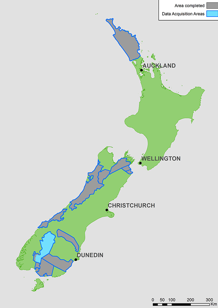 Map of New Zealand showing the areas where aeromagnetic surveying has been completed.