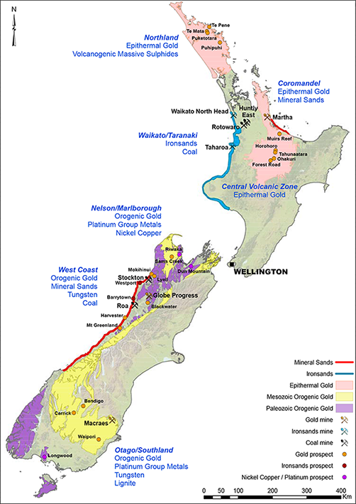 Major mines and mineral occurence map