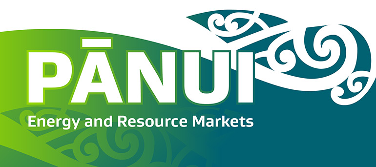 Pānui – Energy and Resource Markets text with green and blue Māori design